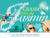 โปสเตอร์ประชาสัมพันธ์งานเทศกาลดอกมะลิ ซึ่งจัดขึ้นในช่วงฤดูเก็บเกี่ยวมะลิของเมือง Grasse ที่มาภาพ : www.frenchduck.co.uk